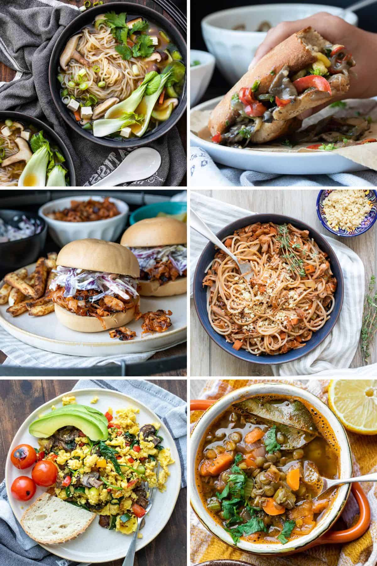 Collage of a variety of soups, pasta, curry and lentil sloppy joes
