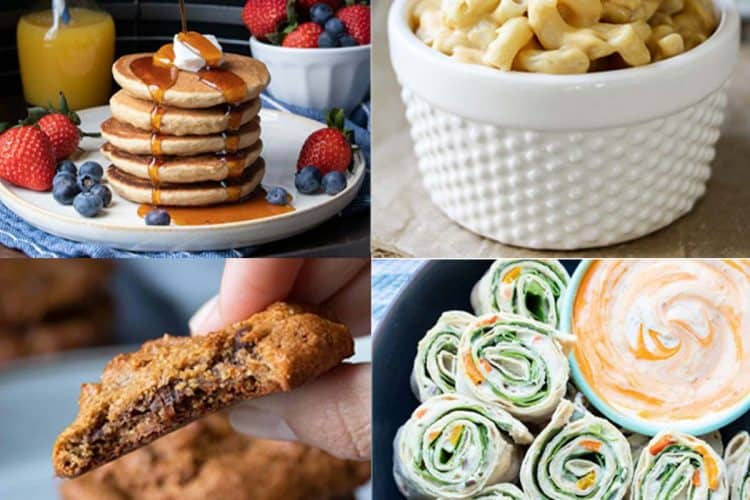 Collage of mac and cheese, pancakes, cookies and pinwheels