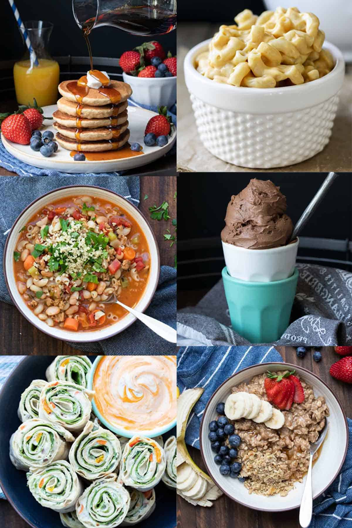 A collage of a mix of different vegan kid friendly meals