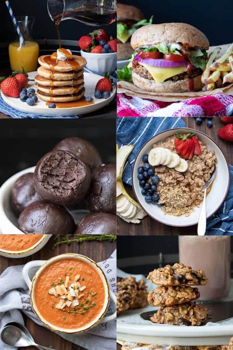 Collage of a variety of vegan meals good for the freezer