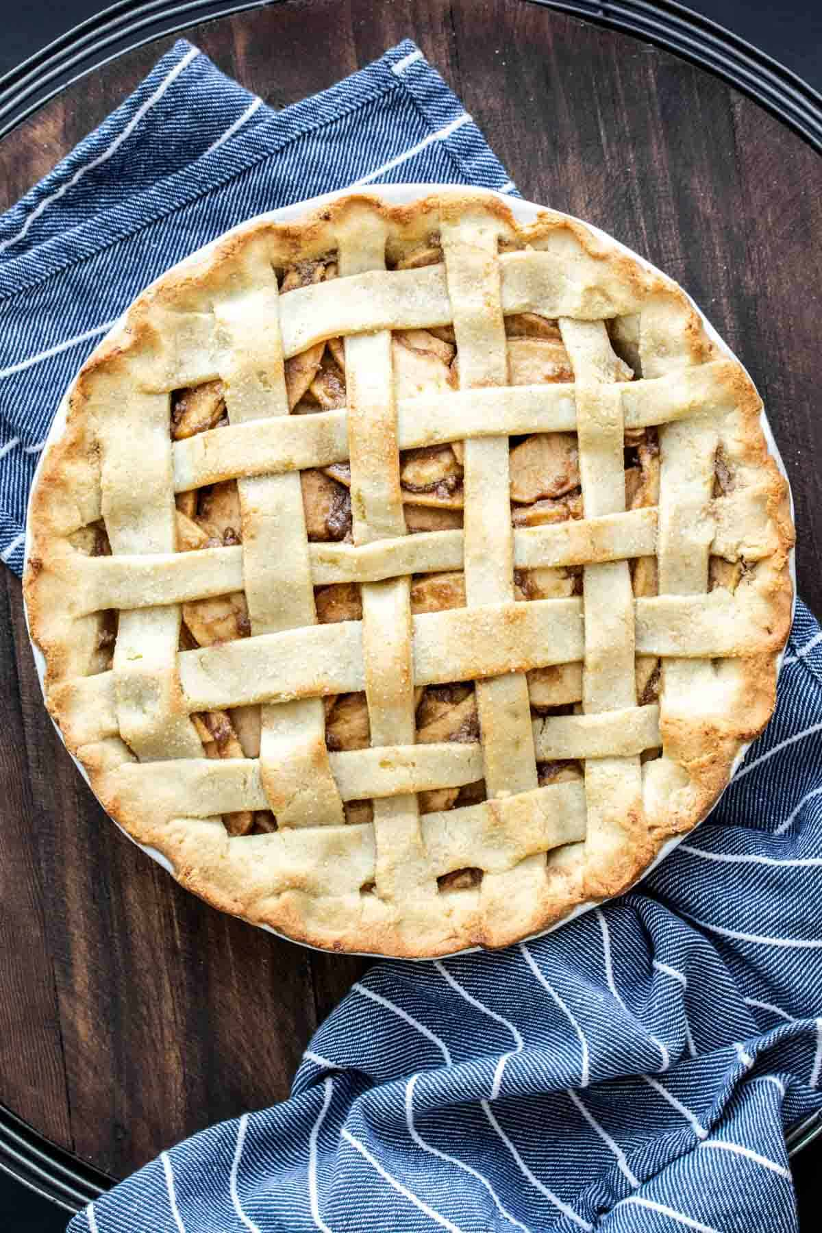Baked lattice covered apple pie