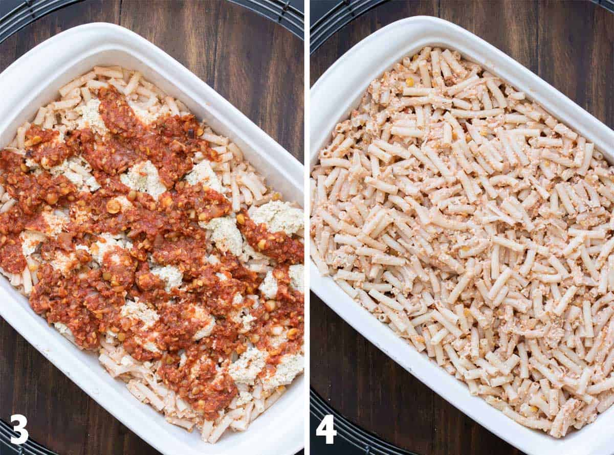 Collage of pasta in a white baking dish and then covered with sauce