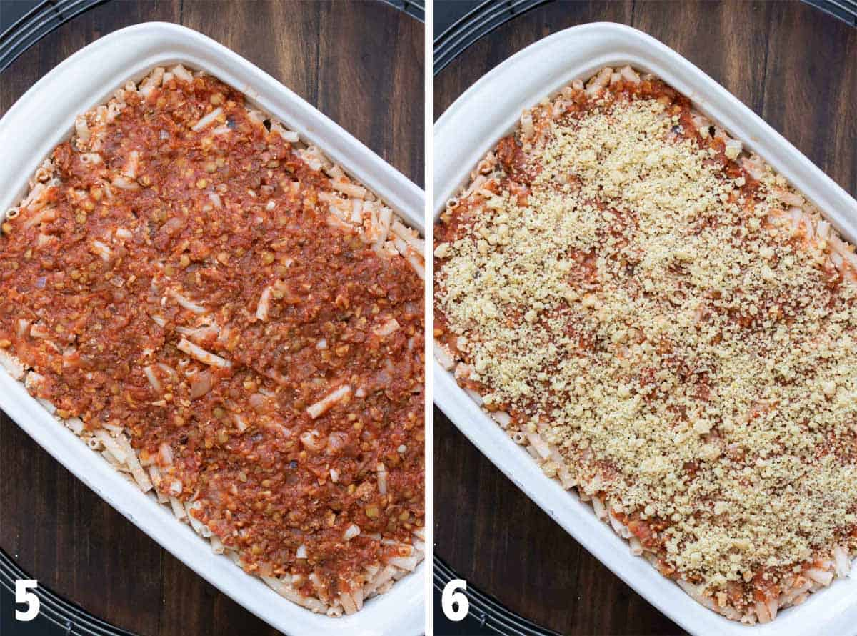 Collage of white baking dish with pasta bake topped with sauce and then topped with parmesan