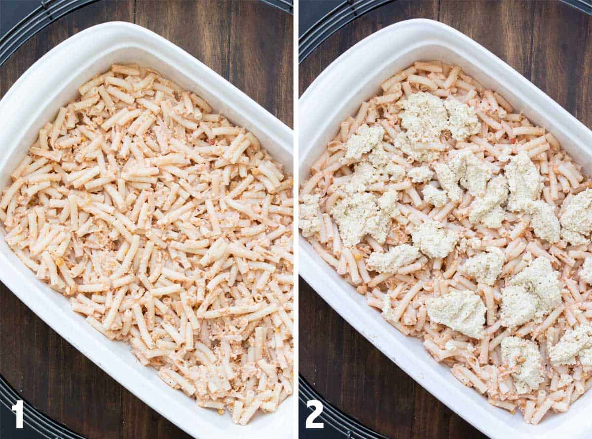 Collage of a white baking dish with baked pasta and then covered with spoonfuls of ricotta