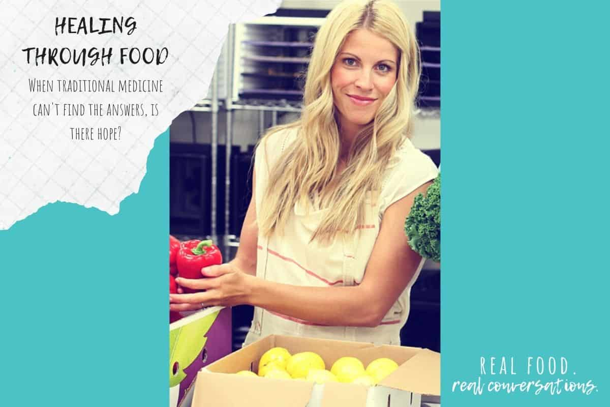 Blond woman in front of cardboard boxes of veggies on a turquoise background with overlay text