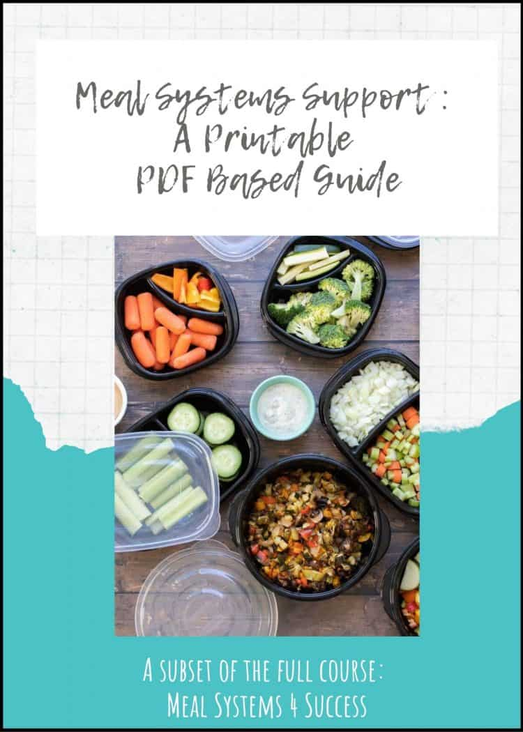 Overlay text on a meal planner guide with a photo of prepped food in containers