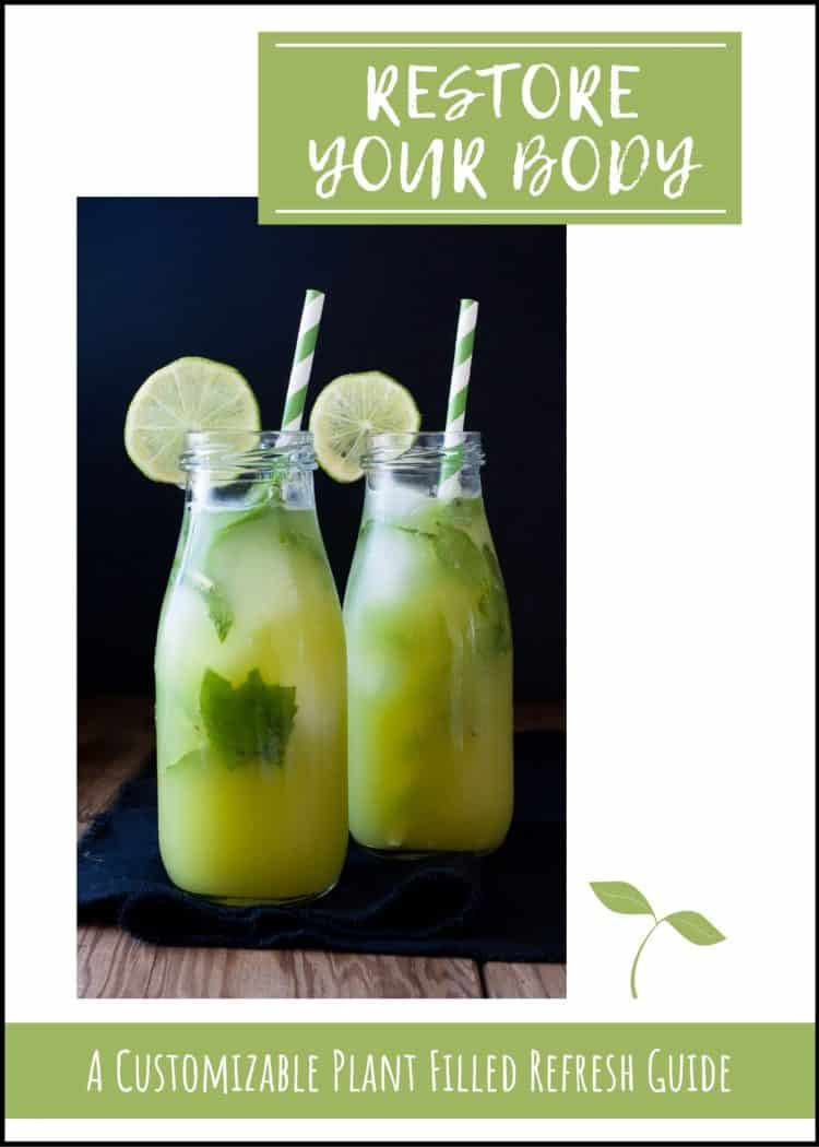 Two jars of green juice on a black napkin with text overlayy