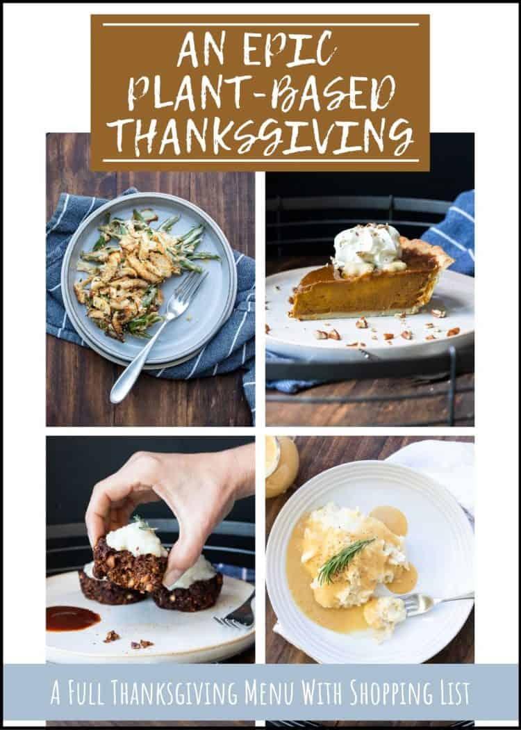 Cover of a Thanksgiving menu eBook with photos of thanksgiving recipes and overlay text