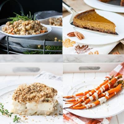Collage of a variety of Thanksgiving foods