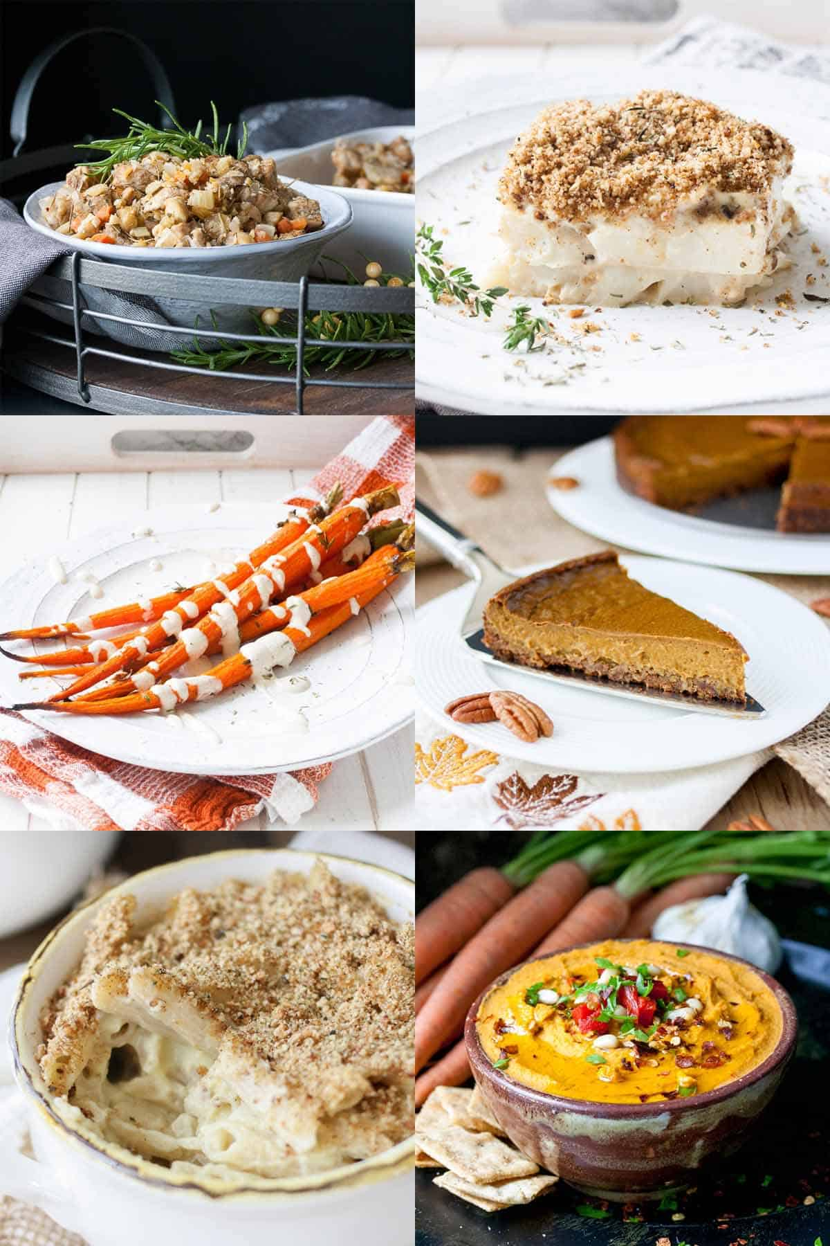 Collage of photos of food for Thanksgiving