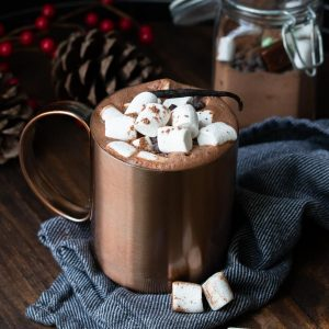Copper mug filled with hot chocolate and topped marshmallows
