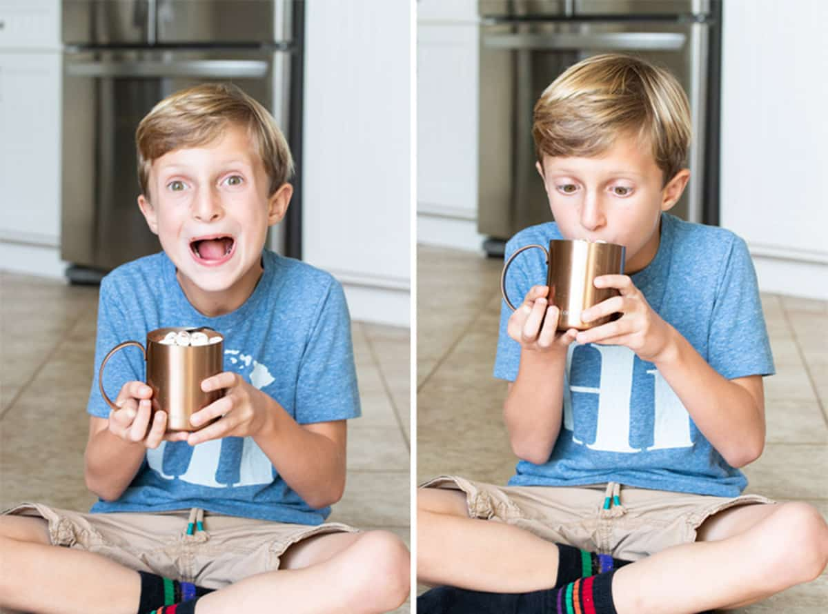 Collage of boy drinking hot chocolate from a mug