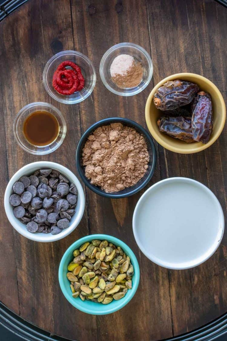 Ingredients to make a healthy dairy free version of hot chocolate in bowls