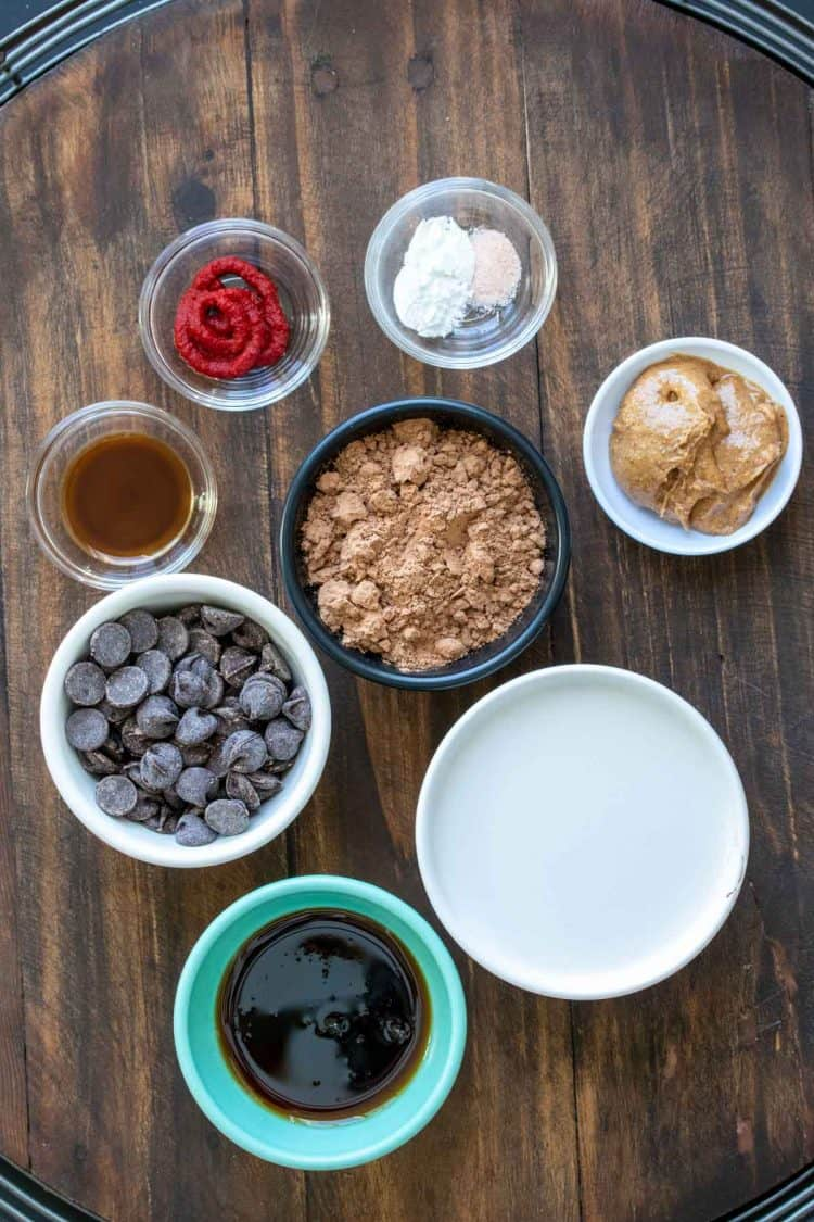 Bowls filled with ingredients to make a vegan chocolate lava cake