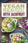 Overlay text on pozole verde soup with bowls of it below