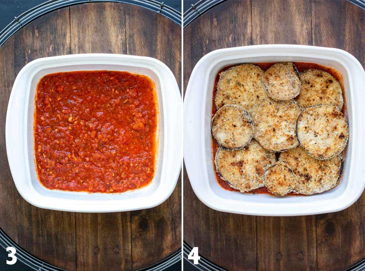 Collage of a white baking dish with tomato sauce on the bottom and then grilled eggplant rounds on top