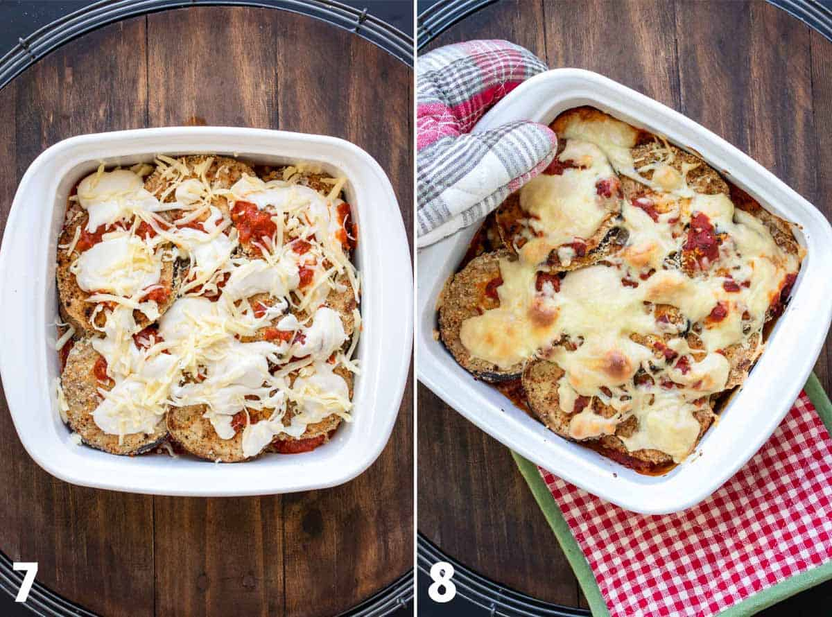 Collage of eggplant parmesan in a white baking dish before and after it is baked
