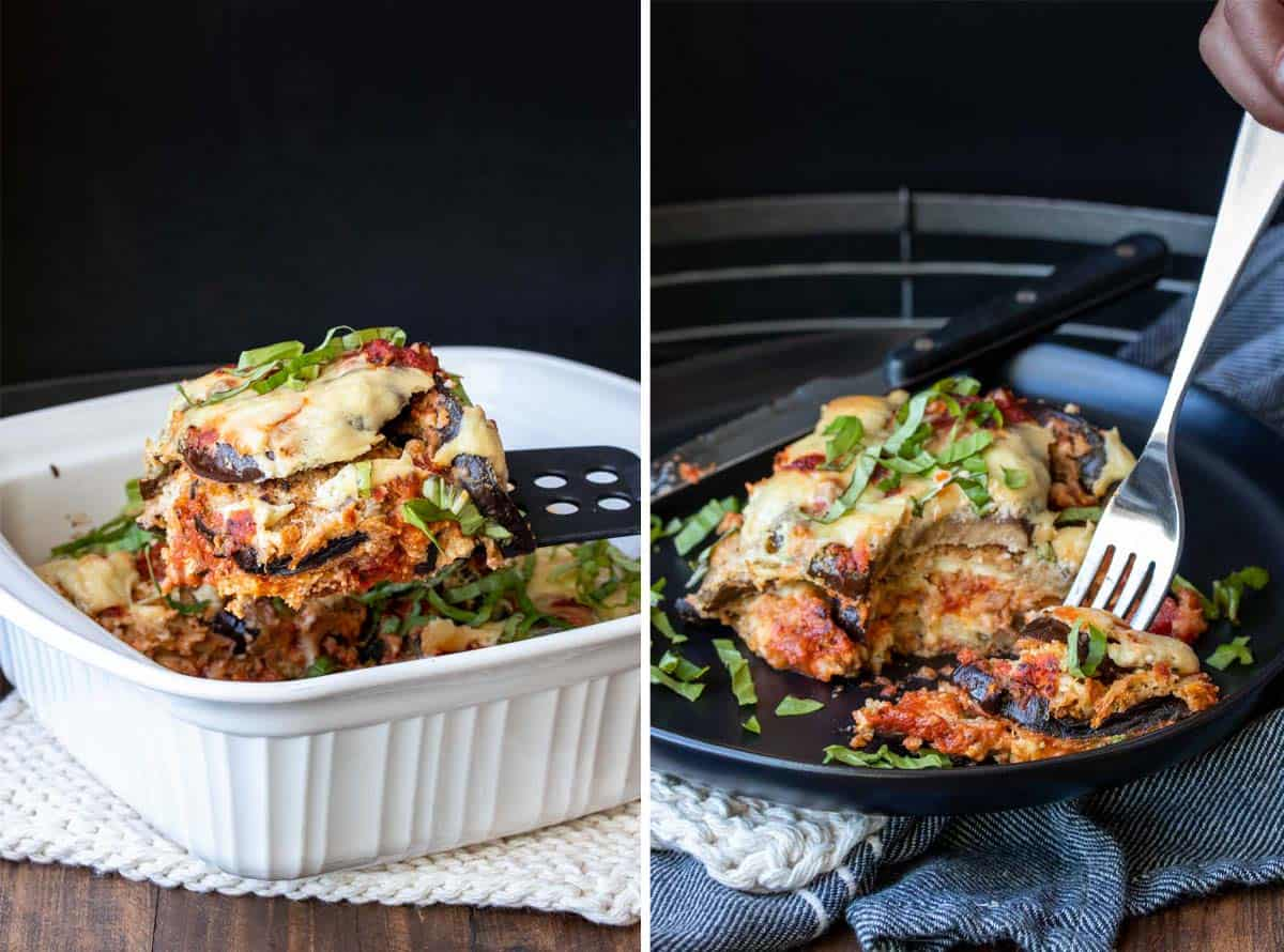 Collage of a baked eggplant parmesan being served and it on a plate