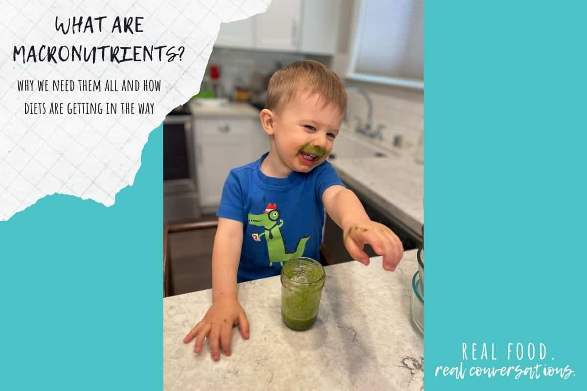 Overlay text on macronutrients on a turquoise color block with a photo of a little boy pointing