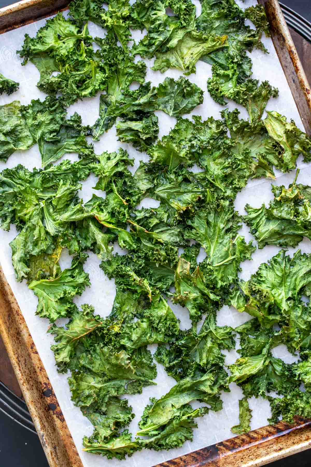 Baked kale chips spread on a parchment lined baking sheet