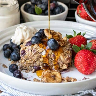 Vegan Baked Oatmeal with Blueberries