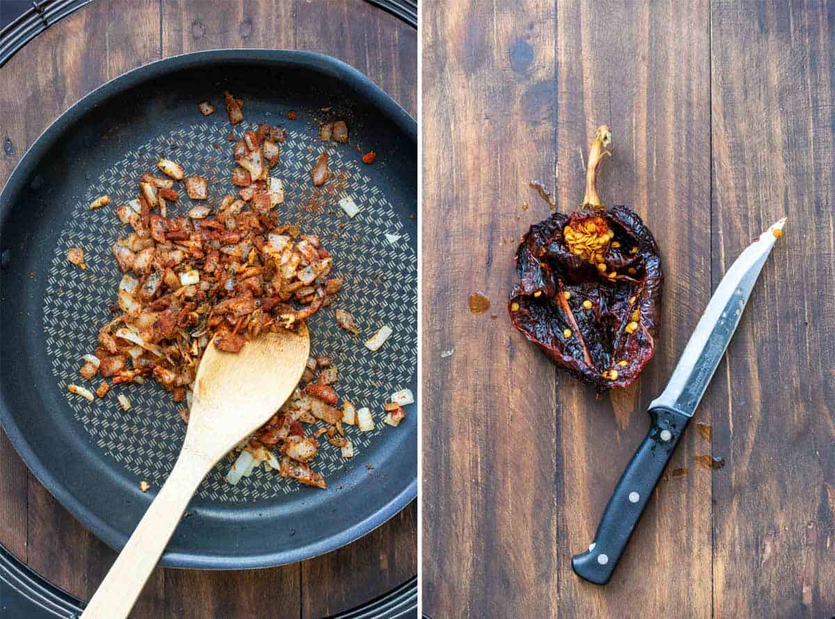 Collage of onions and red spices being sauteed and a dried pepper having seeds scraped out