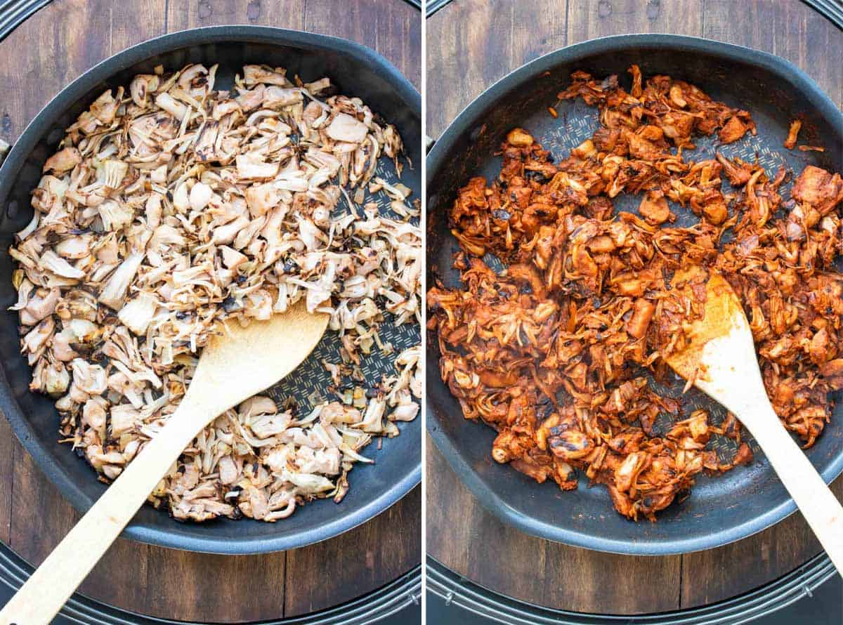 Collage of jackfruit being browned and then sauteed with red sauce