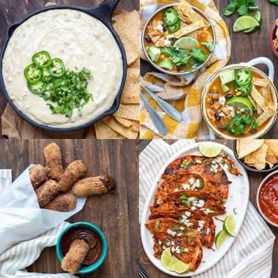 Collage or queso dip, churros, tortilla soup and birria tacos