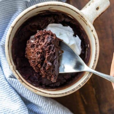 Spoon getting a bite of chocolate cake from a cream mug