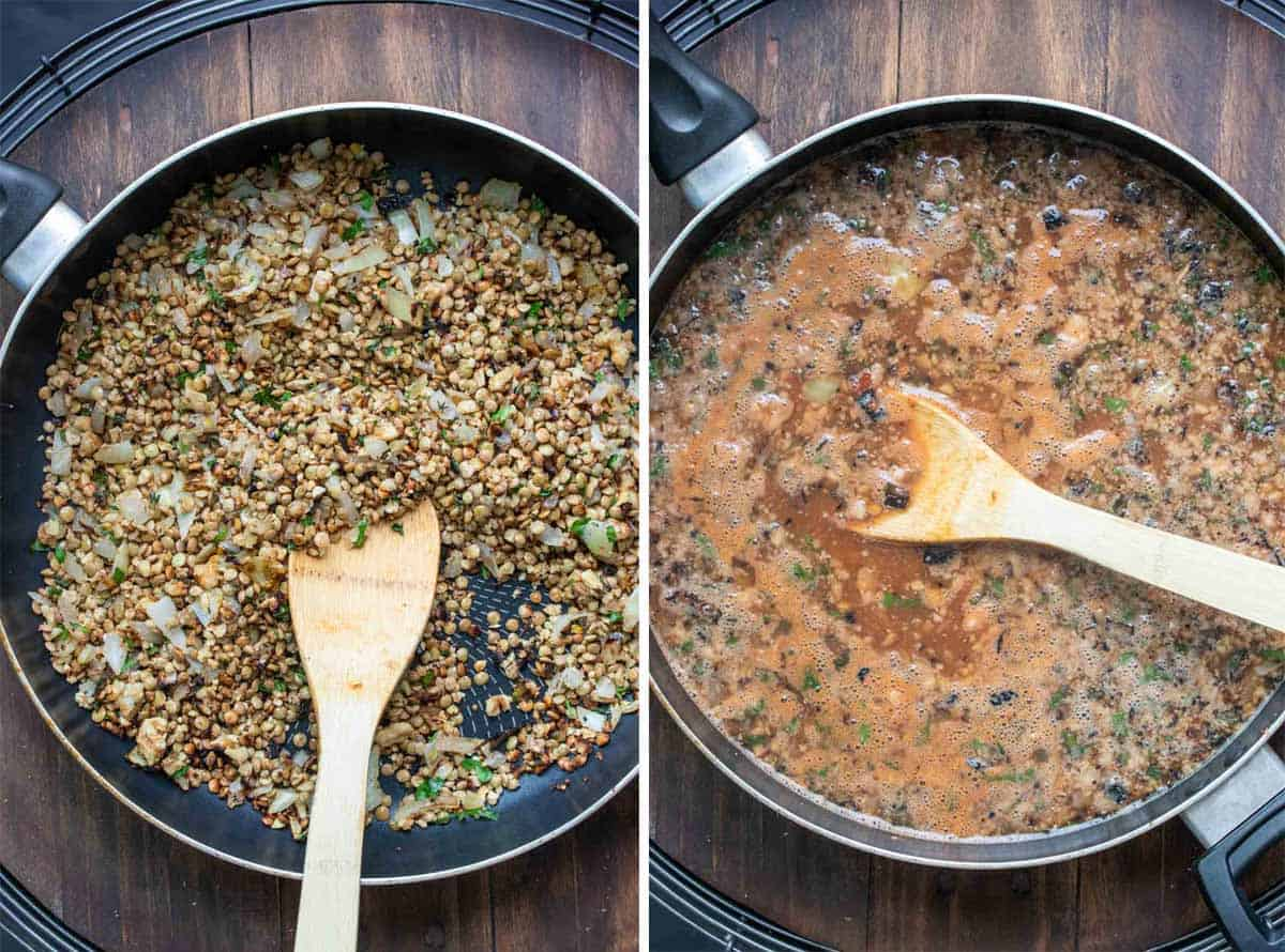 A collage of a lentil mix being cooked in a pan and the mix with broth in it