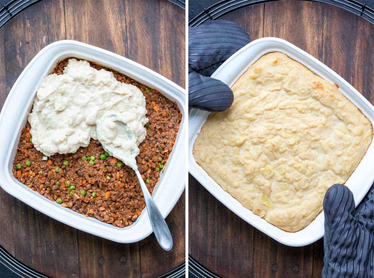 A collage of Shepherd's pie being put together and the baked final