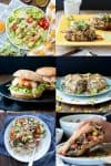 Collage of photos of a variety dinners from burgers to burritos to pasta