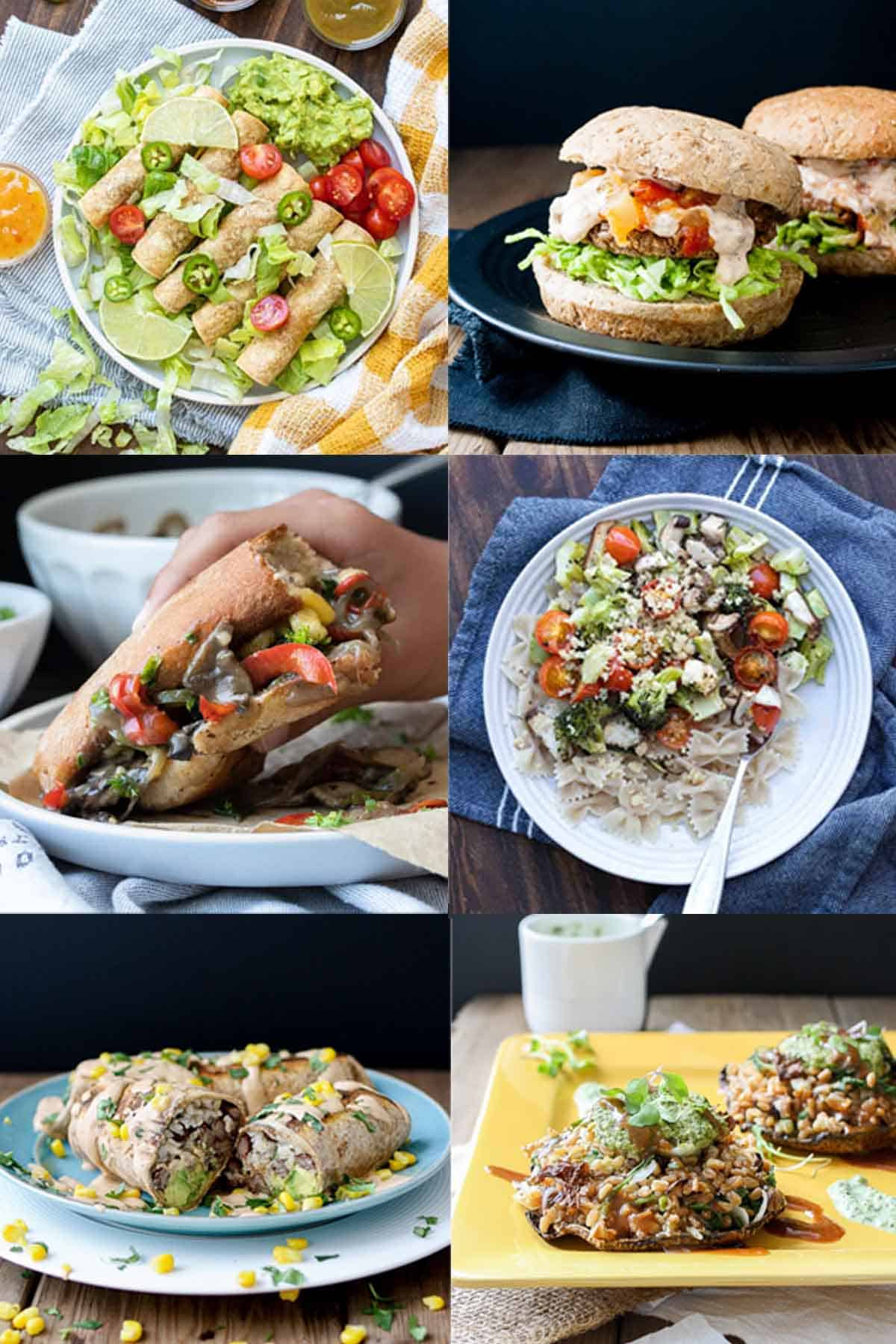 A collage of taquitos, burgers, sandwiches, pasta, burritos and stuffed mushrooms