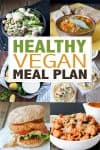 Collage of different vegan meals with overlay text on a healthy meal plan