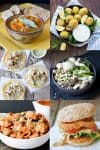A collage meals like tacos, soup, pasta burgers and grain bowls