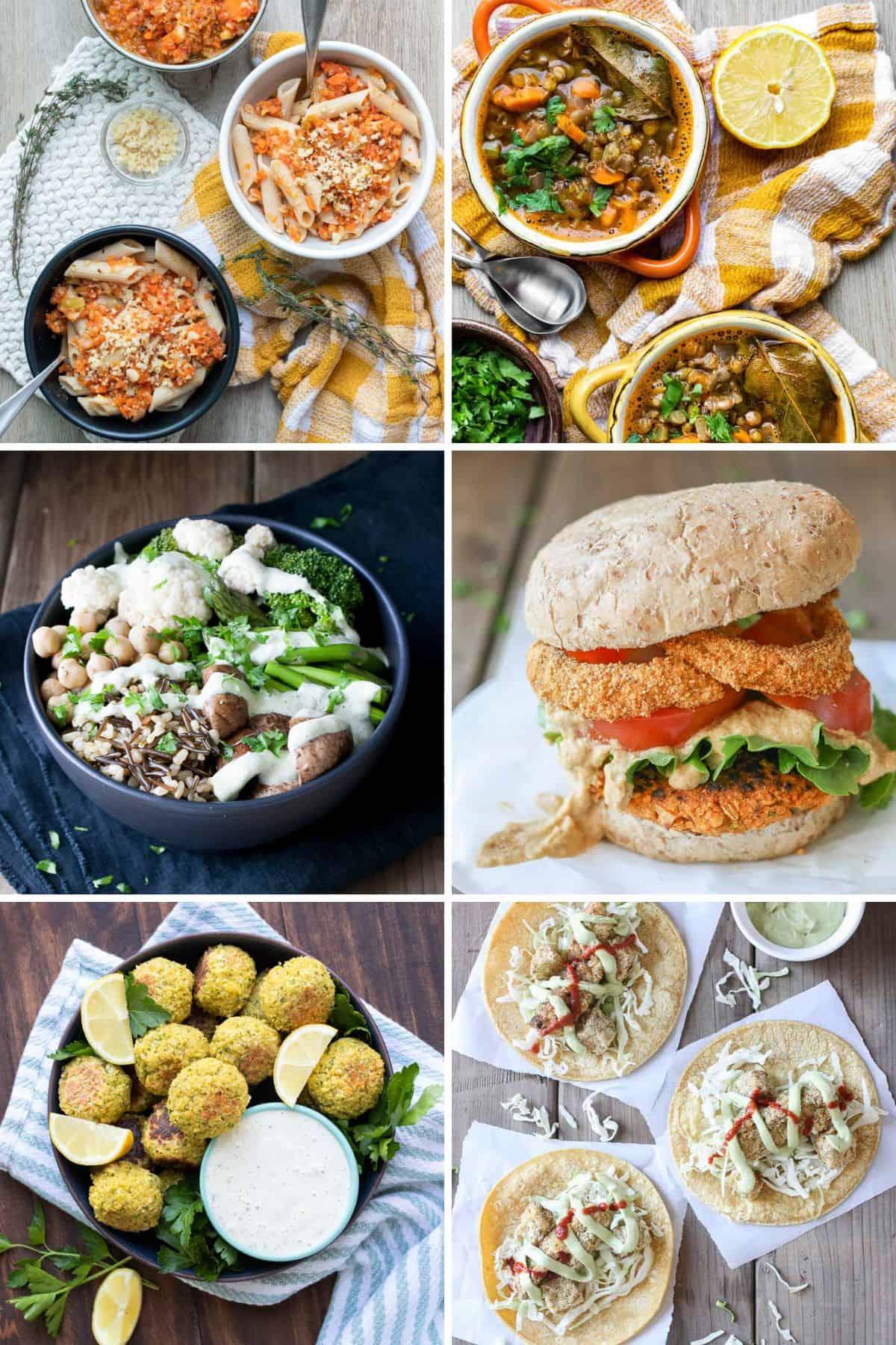 A photo collage of a grain bowl, soup, tacos, falafel, burger and pasta