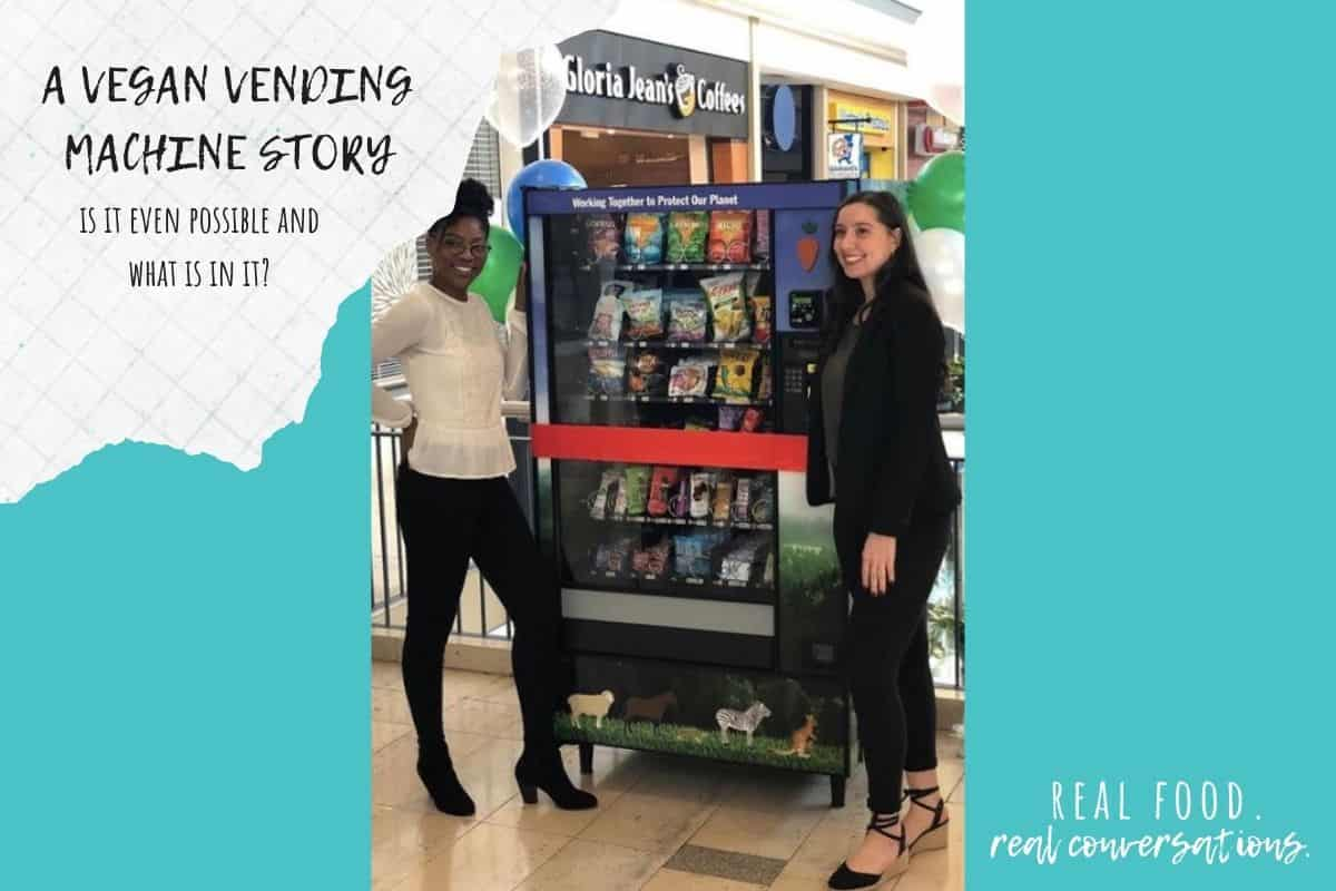 Turquoise color blocks with overlay text and two women standing by a vending machine