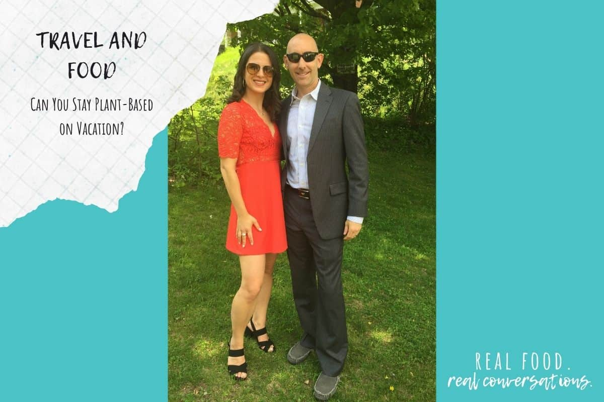 Overlay text on a turquoise color block with a dressed up man and woman standing next to each other