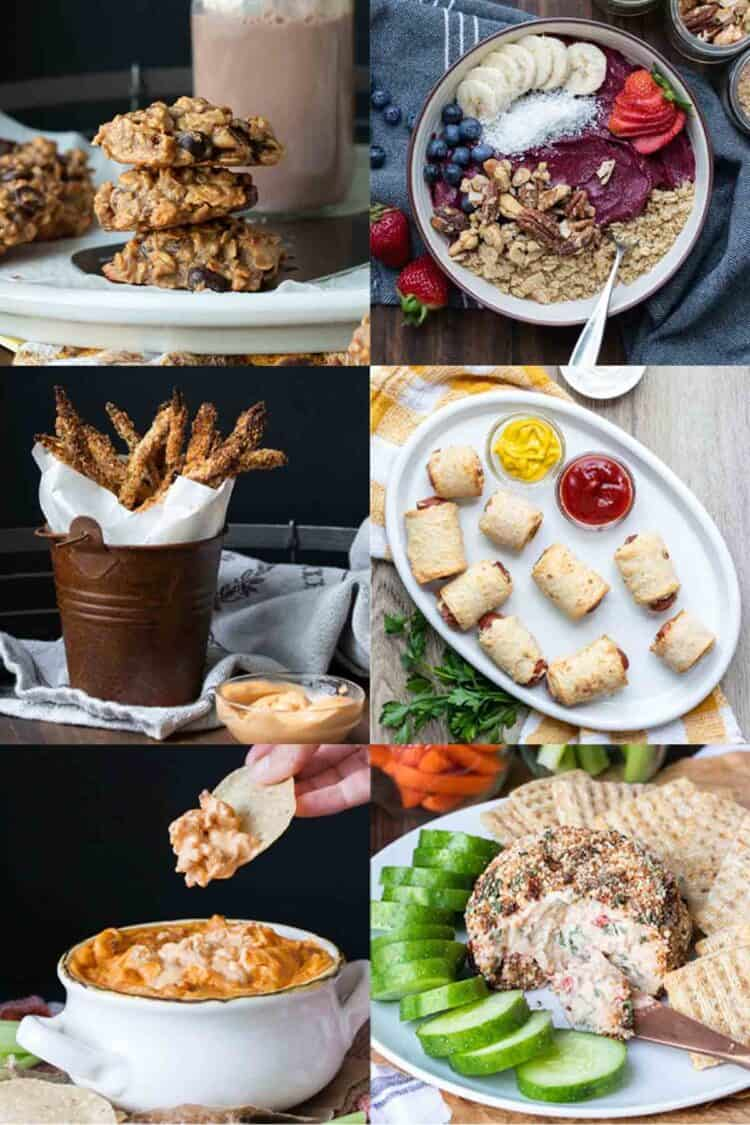 Collage of cookies, smoothie bowl, asparagus fries, pigs in a blanket and dips