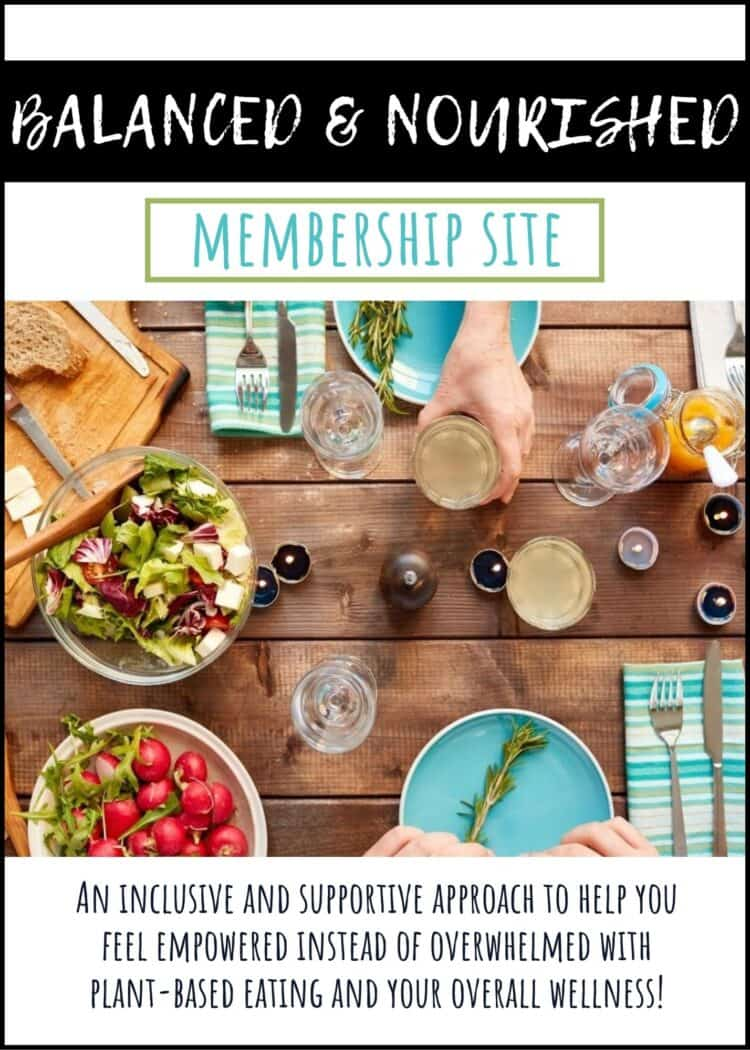 Overlay text on a membership site with a photo of the top view of a table filled with food and people holding drinks