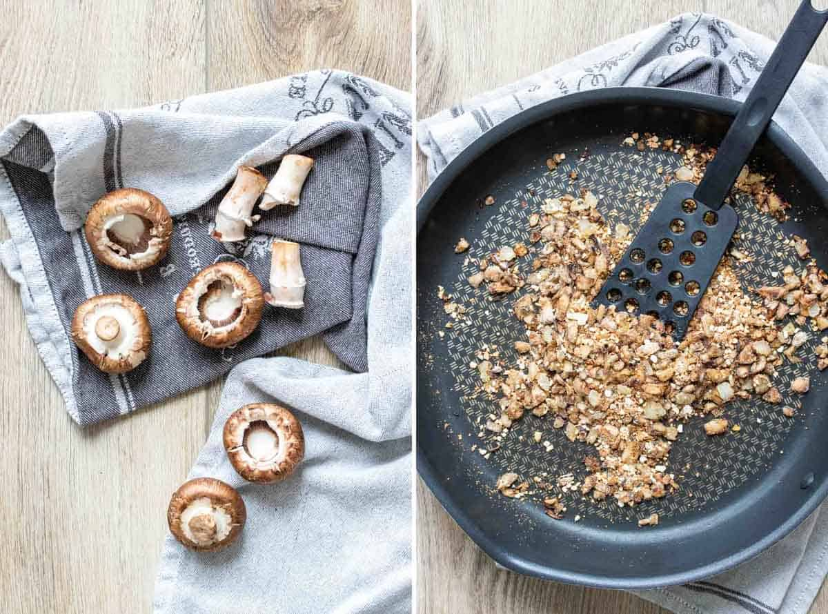 Collage of stems being removed from mushrooms and a pan with them chopped and being sautéed with breadcrumbs