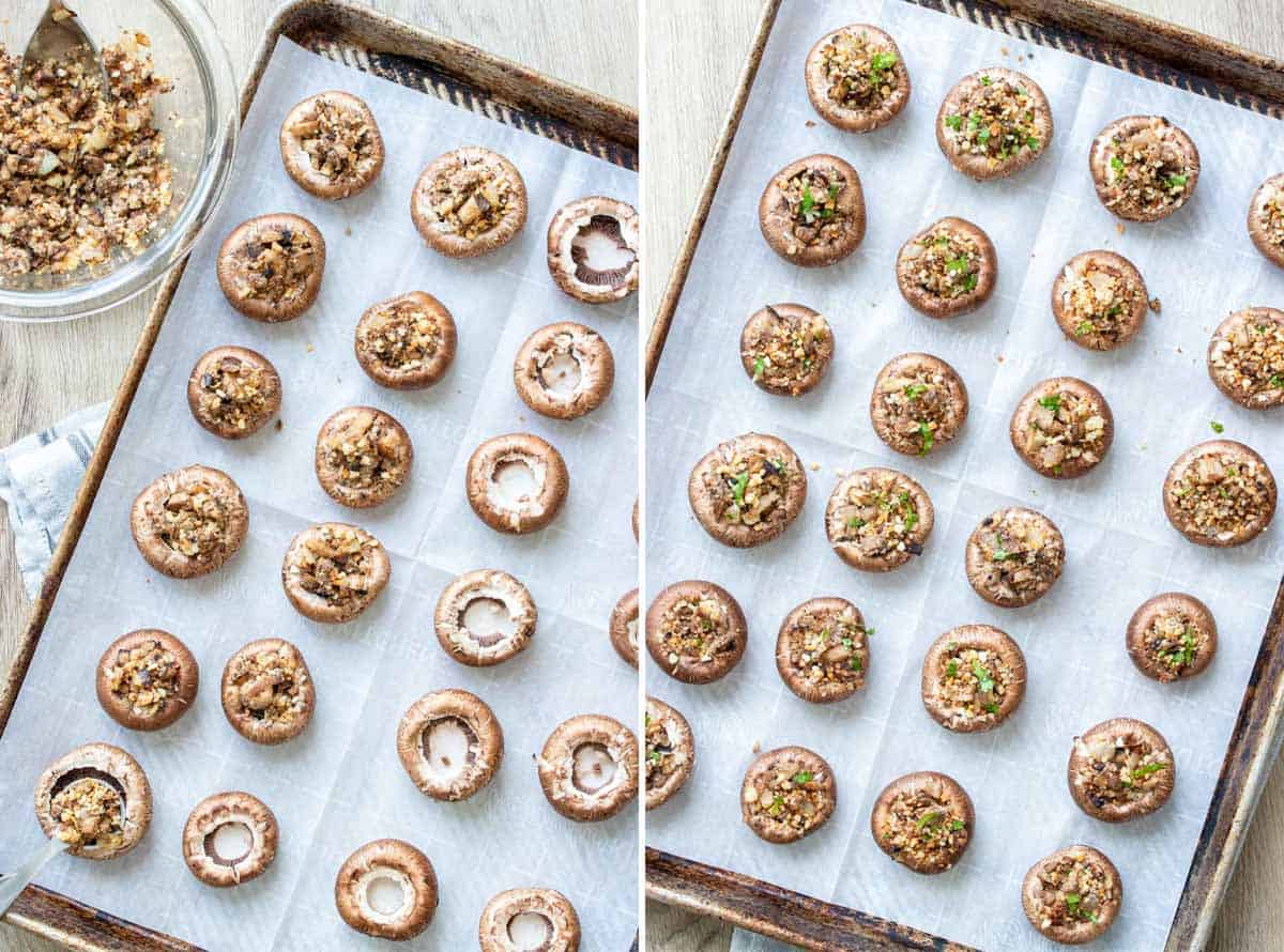 Collage of mushrooms on a baking sheet being stuffed and all of the stuffed